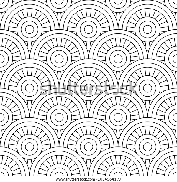 Seamless Pattern Linear Drawing Zentangle Coloring Stock Vector ...