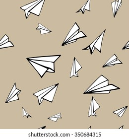Seamless pattern with linear paper planes. Hand drawn background.