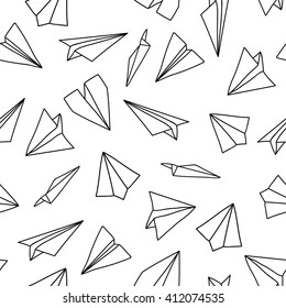 Seamless pattern with linear paper planes. Hand drawn background. Adult coloring book. Suitable for packaging,stationery, and identity and web designs.