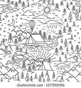 Seamless pattern from lineart elements of nature travel theme. Mountains and tent, pine tree and waterfall landscape. Day and high sky. Flat line style pattern for camping. Vector illustration.
