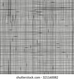 Seamless pattern with linen texture. Hand-drawn vertical and horizontal lines, criss-cross, checkered.  Made by trace from sketch. Ink pen. Black and white pattern in vector.