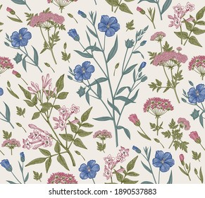 Seamless pattern Linum Flax Jasmine Hemlock tree wildflowers. Beautiful fabric blooming realistic isolated flowers Vintage background Wallpaper baroque. Drawing engraving Vector victorian illustration