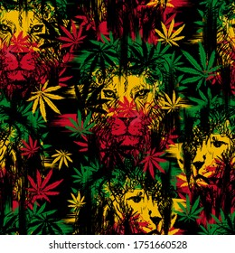 Seamless pattern with lion head with cannabis marijuana leaves on black background. Vector illustration. Rastaman style