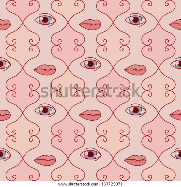 seamless pattern of lips and eyes