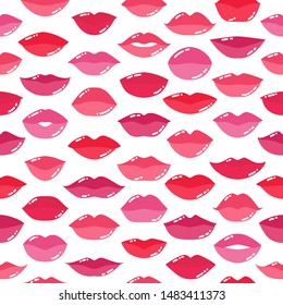Seamless pattern with lips, simple vector illustration