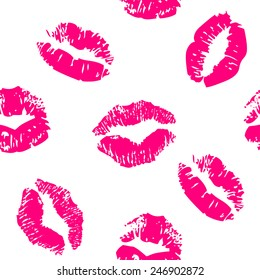 Seamless pattern with a lipstick kiss prints on white background. Vector background
