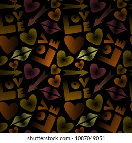 Seamless pattern with lipstick kisses, cupid's arrow, love text and hearts. Vector endless backdrop in brown, black and orange colors for fabric or wrapping.
