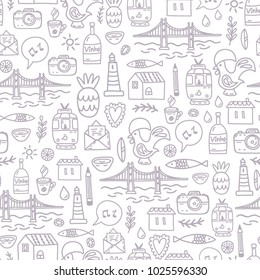 A seamless pattern of Lisbon smiles.