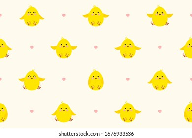Seamless pattern with little chickens and hearts. Cute chicks with different smiles. Festive endless vector background for Easter or birthday.  Endless texture for wallpaper, web page, wrapping paper