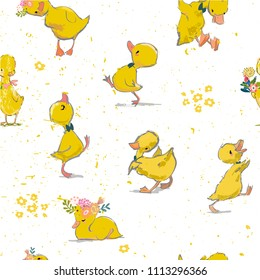 seamless pattern with little duckling