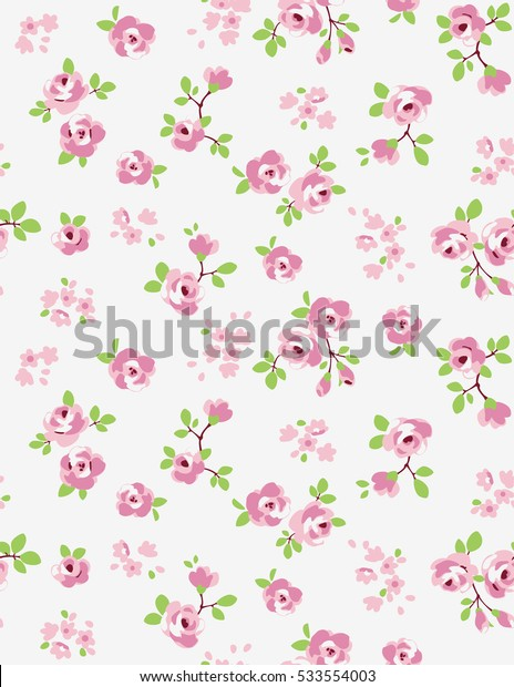 Seamless pattern of a little pink flowers.