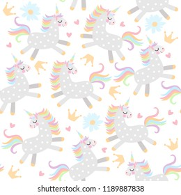 Seamless pattern with little unicorns, crowns,hearts and daisy flowers on white background in vector.