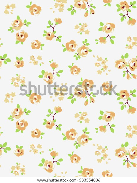 Seamless pattern of a little yellow flowers.