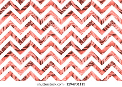 Seamless pattern with living coral roses on white zig zag geometric background