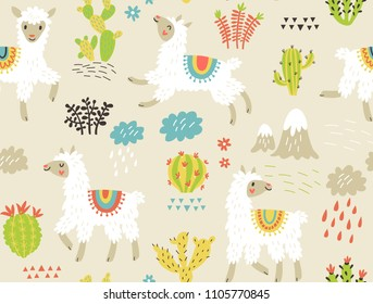 Seamless pattern with llama