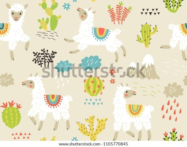 Seamless pattern with llama