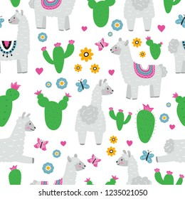 Seamless pattern with llama alpaca, flowers, cactus, batterfly and hearts. Cute cartoon character. Hand drawn vector illustration.
