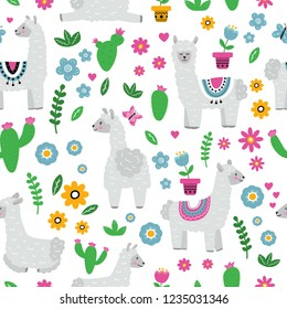 Seamless pattern with llama alpaca, flowers in pots, cactus, batterfly and hearts. Hand drawn vector illustration.