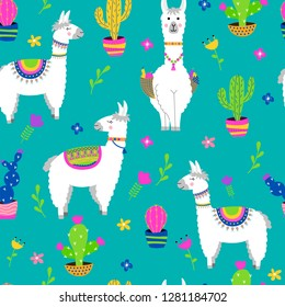 Seamless pattern with llama, cactus, flowers. Vector illustration.