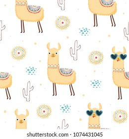 Seamless pattern with llama, cactus and hand drawn elements. Cute childish texture. Great for fabric, textile, wrapping paper, wallpaper. Vector illustration EPS10