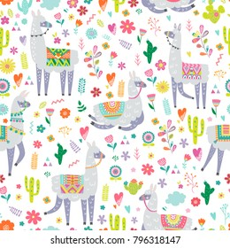 Seamless pattern with llama, cactus and hand drawn elements. Creative childish texture. Great for fabric, textile. Vector illustration.