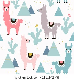 Seamless pattern of llama, cactus and mountains. Great for fabric, textile. Vector background.