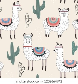 Seamless pattern with llama and cactus. vector illustration for fabric, textile,wallpaper
