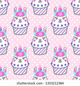 Seamless pattern with llama cupcake with floral wreath and horn like unicorn. Excellent design for packaging, wrapping paper, textile, clothes etc.