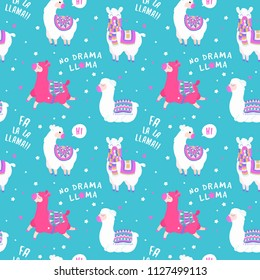 Seamless pattern with llama, star elements. llama pattern with quote. Vector baby animal illustration. Fabric design for sleepwear