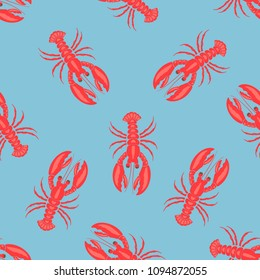 seamless pattern with lobsters on blue, background with sea elements, wallpapers with red lobsters