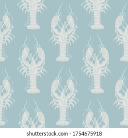 Seamless pattern with lobsters on a blue background. Stylized lobster. Wallpaper, print, wrapping paper, modern textile design, banner, poster, promotional material. Vector illustration.