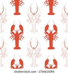 Seamless pattern with lobsters on a white background. Stylized lobster. Red on white. Wallpaper, print, wrapping paper, modern textile design, banner, poster, promotional material.Vector illustration.
