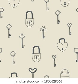 Seamless pattern with locks and keys. Vintage vector background