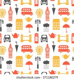 Seamless pattern with London symbols. United Kingdom theme, vector illustration, can be used for wallpaper, web page background, greeting cards, fabric print