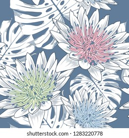 Seamless pattern with lotos flowers and monstera leaves.