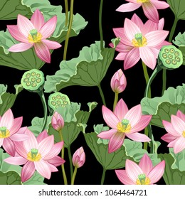 Seamless pattern with lotus flowers and leaves on black background, seamless texture for print design.