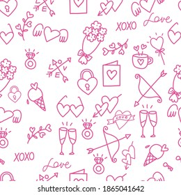 Seamless pattern of love. Happy Valentine's day. Hand-drawn doodles on white background.