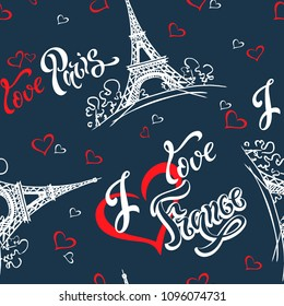 Seamless pattern. I love Paris. I love France. Stylish lettering. Hearts. Eiffel tower. Sketch. Blue background. Victor