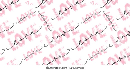 Seamless pattern with Love word hand drawn lettering. Dry brush texture. Modern calligraphy. Grunge vector illustration. Design for print on shirt, poster, banner. Pink color text on white background.