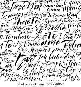 Seamless pattern with I love you phrases in different languages. Ornament for Valentine's day. Ink illustration. Modern brush calligraphy. Isolated on white background.