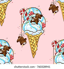 Seamless pattern with lovely chocolate rabbits eat delicious ice cream in a waffle cone, sweets and candies. Excellent illustration for printing on children's clothing, dishes, labels and stickers.
