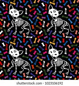 Seamless pattern. Lovely skeleton of a cat on a background from multi-colored bones. Can be used for t-short print, poster or card. Ideal for Halloween, the Day of the Dead and more.