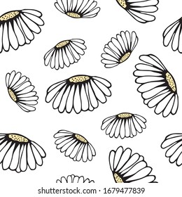 seamless pattern with lush daisies on a white background. air print for textiles, design, decor, covers, notebooks