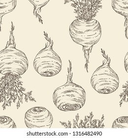 Seamless pattern with Maca Peruvian. Superfood. Vector hand drawn illustration