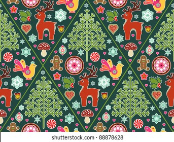 seamless pattern made up of Christmas icons and symbols