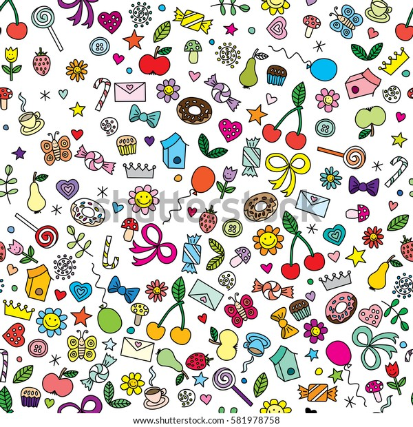 Seamless pattern made of colorful cartoon illustrations on white