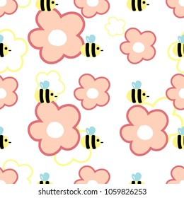Seamless pattern made with cute bees and colorful  flowers. Spring background