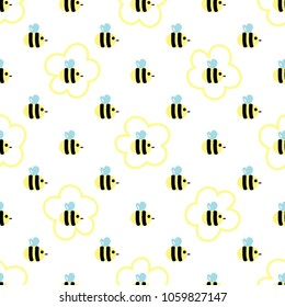 Seamless pattern made with cute bees and flowers. Spring background