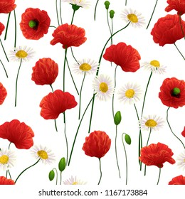 Seamless pattern made of daisy and poppy flowers.