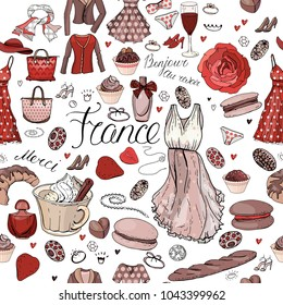 Seamless pattern made of different symbols related to France, travelling and Paris. Red and brown color. Endless texture for fashion and travel design,elements on white